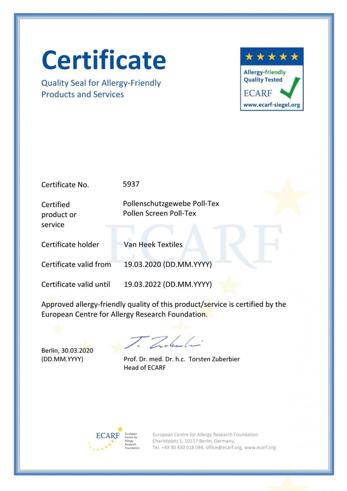 Poll-tex®防霾紗窗獲得歐盟ECARF(過敏研究基金會)認證