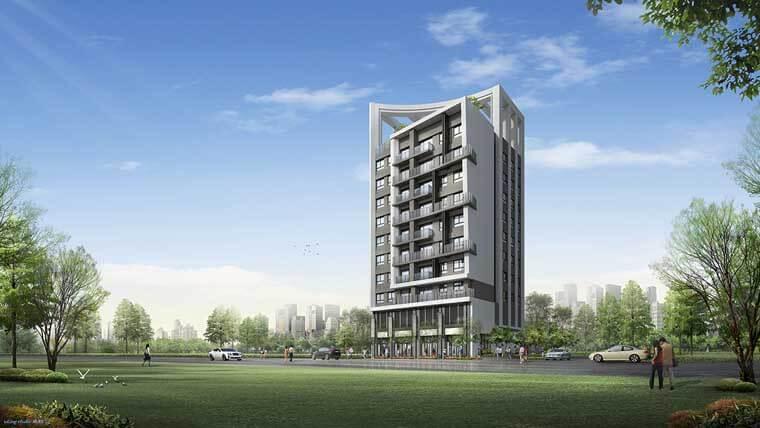 「坤悅雅樂」外觀以現代科技感的建築風格打造。